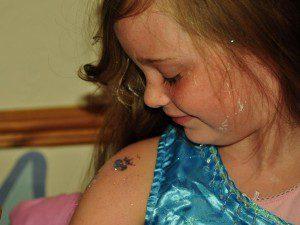 A glitter tattoo